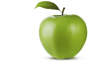 Ripe Green Apple With Small Leaf Coming Off The Stem