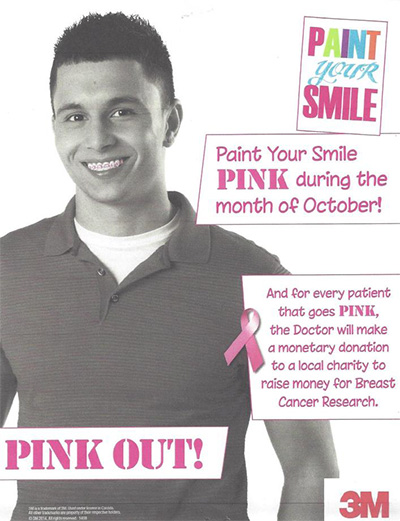 Male Teenager Smiling With Pink Braces Promoting Breast Cancer Awareness Month In October