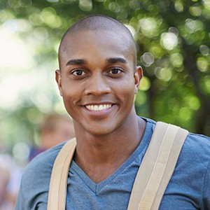 Black Man Smiling Outside